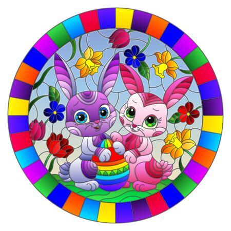 Illustration in stained glass style with cute Easter bunnies and egg on the background of flowers and sky, round image in bright frame  Ilustracja
