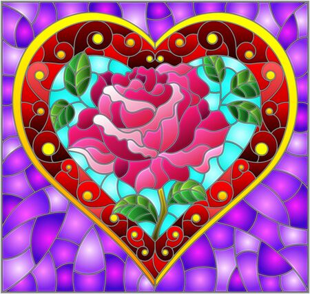Illustration in stained glass style with bright red heart and rose flower on purple background