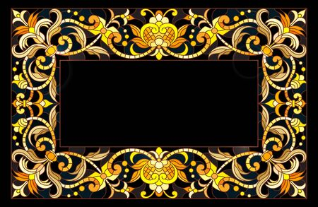 Illustration in stained glass style frame with floral,golden flowers and leaves on a dark background,rectangular image Ilustração