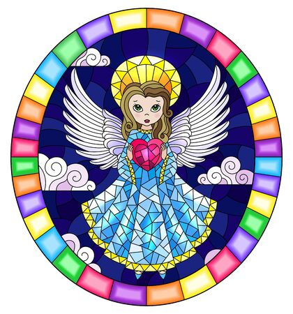 Illustration in stained glass style with cartoon  angel in bblue dress with heart in hands against the cloudy night sky,round image in bright frame