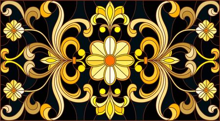 Illustration in stained glass style with floral ornament ,imitation gold on dark background with swirls and floral motifs