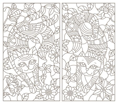 A set of contour illustrations of stained glass cats on a background of flowers, dark outline on a white background