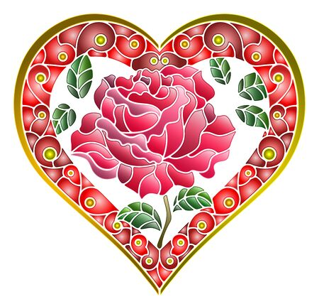 Illustration in stained glass style with bright red heart and rose flower on white background