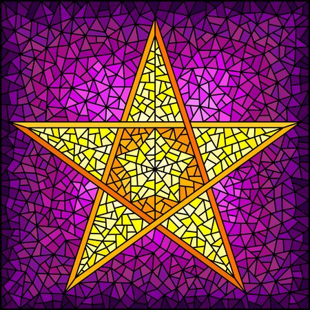 Illustration in stained glass style with abstract yellow five-pointed star on a purple  background