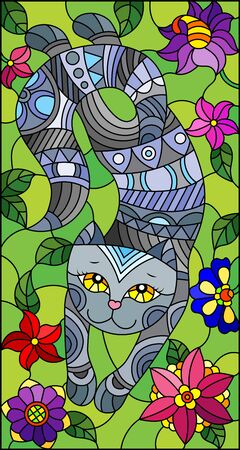 Illustration in stained glass style with a    cute grey cat on a background of meadows and  bright flowers
