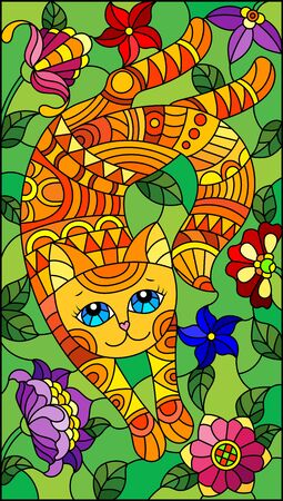 Illustration in stained glass style with a    cute red cat on a background of meadows and bright flowers Ilustração