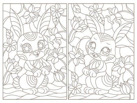Set of contour illustrations in stained glass style with cute cartoon rabbit on flowers background, dark outlines on white background