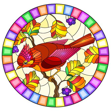 Illustration in the style of stained glass with a beautiful bright red  bird  on a  background of autumn branch of tree and sky,oval image in bright frame