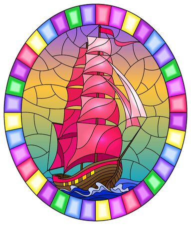 Illustration in stained glass style with an old ship sailing with pink sails against the sea,  oval image in a bright frame