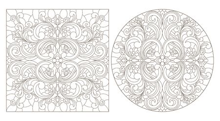 Set of contour illustrations with abstract floral patterns, round and square image, dark contours on white background Ilustração