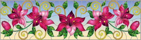 llustration in stained glass style with flowers, leaves and buds of pink lilies on a blue background Ilustração