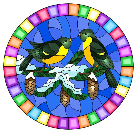 Illustration in stained glass style with a pair of birds titmouses on snow-covered spruce branches with cones on a background of the sky,oval image in bright frame