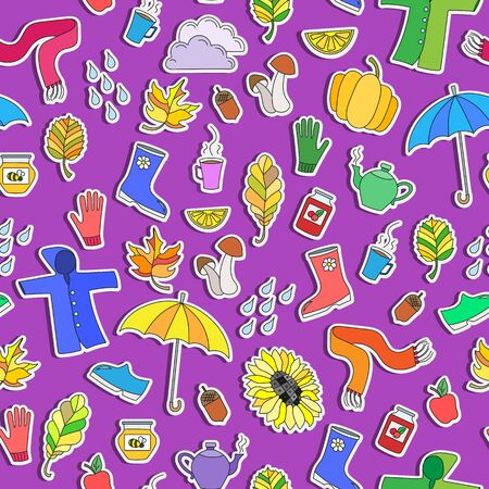 Seamless pattern on the theme of autumn, simple colored stickers on bright purple background
