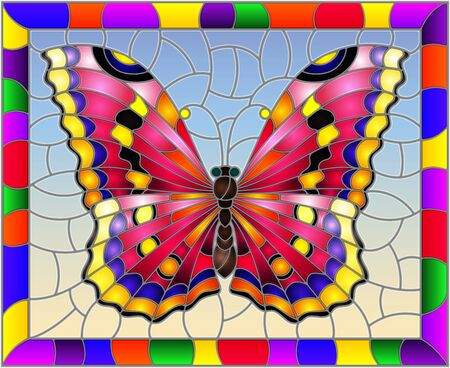 Illustration in stained glass style with bright pink butterfly on a blue background in a bright frame Ilustração