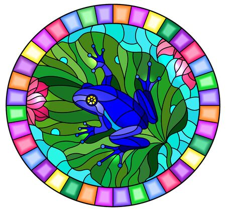 Illustration in stained glass style with abstract blue frog on Lotus leaf on water and flowers, oval image in bright frame
