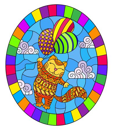 Illustration in stained glass style with funny red cat flying on balloons on the background of sky and clouds,  oval image in bright frame Foto de archivo - 129931089
