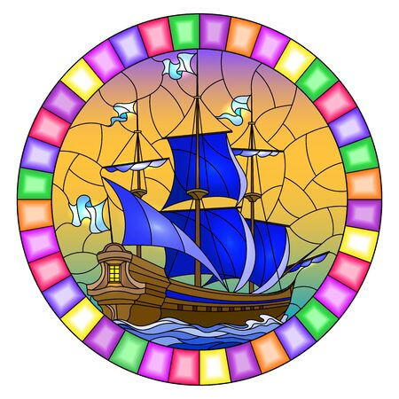 Illustration in stained glass style with an old ship sailing with blue sails against the sea,  oval image in a bright frame Иллюстрация