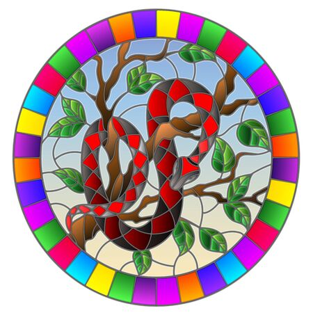 Illustration in the style of stained glass with red snake on the tree on blue background, oval image in bright frame