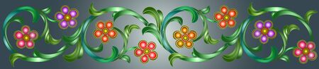 Illustration in stained glass style with abstract  swirls,flowers and leaves  on a grey background,horizontal orientation Foto de archivo - 129931093