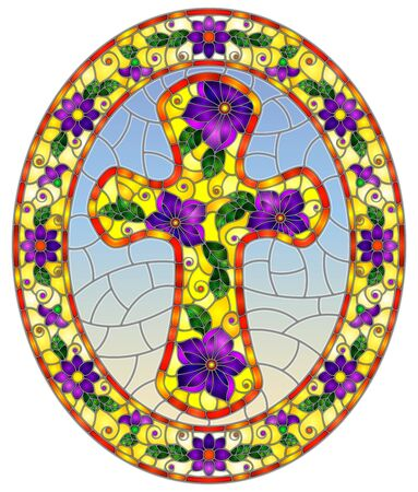 Illustration in stained glass style with Christian cross decorated with  purple flowers on blue background, oval image in floral frame Ilustração
