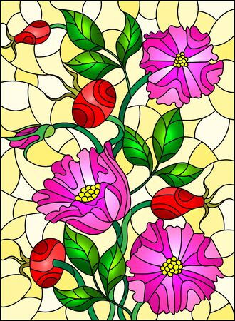 Illustration in stained glass style with flowers , berries and leaves of wild rose on yellow background Ilustração