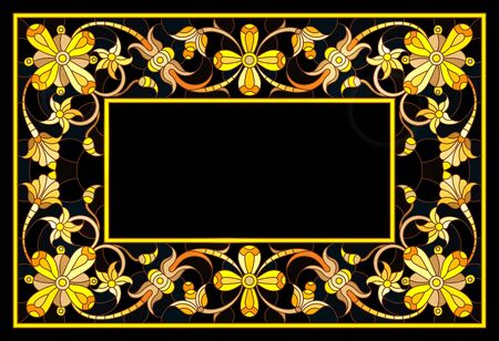 Illustration in stained glass style frame with floral,golden flowers and leaves on a dark background,rectangular image Illusztráció
