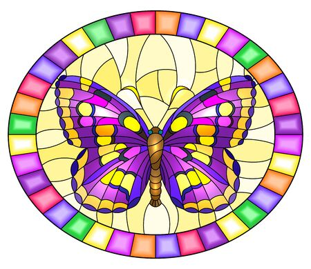 Illustration in stained glass style with bright rpurple  butterfly on a yellow background, oval picture  in a bright frame