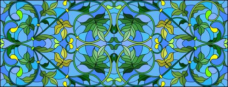 Illustration in stained glass style with abstract  swirls  and leaves  on a blue background,horizontal orientation