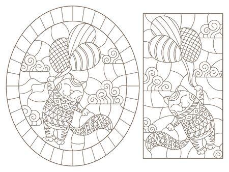 Zestaw ilustracji konturowych z abstrakcyjnymi kotami, ciemne kontury na białym tle