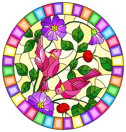 Illustration in stained glass style with two pink birds on the branches of blooming wild rose on a yellow background