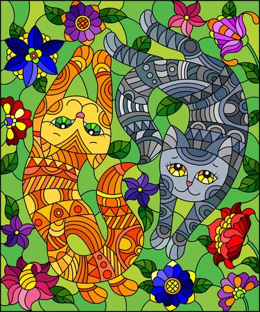 Illustration in stained glass style with a pair of  cute cats on a background of meadows and bright flowers