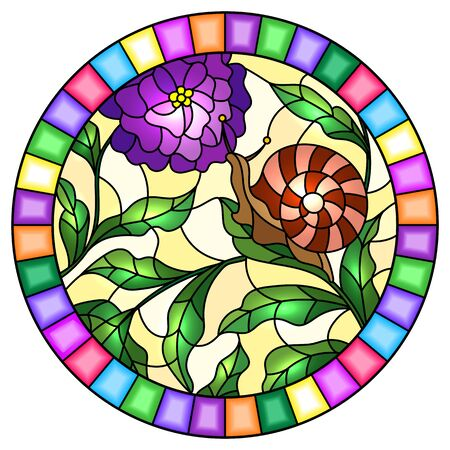 Illustration in stained glass style with  snail and flower   , on the background branches with leaves,oval image in bright frame