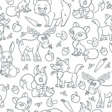 Seamless pattern with cartoon forest animals, contoured dark beasts on white background  イラスト・ベクター素材