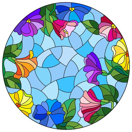 Illustration in stained glass style with floral arrangement of flowers, colorful flowers and leaves on a blue background, round image