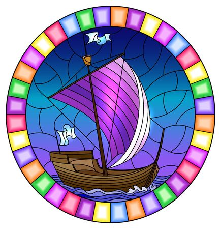 Illustration in stained glass style with an old ship sailing with purple sails against the sea,  oval image in a bright frame