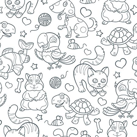 Seamless pattern with cute Pets, dark outlines on white background Stock Illustratie