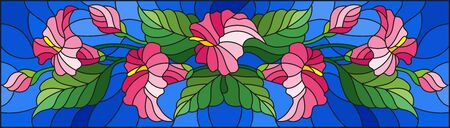 Illustration in stained glass style with a floral arrangement of Calla flowers, pink Calla and leaves on a blue background