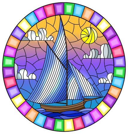 Illustration in stained glass style with an old ship sailing with light sails against the sea,  oval image in a bright frame