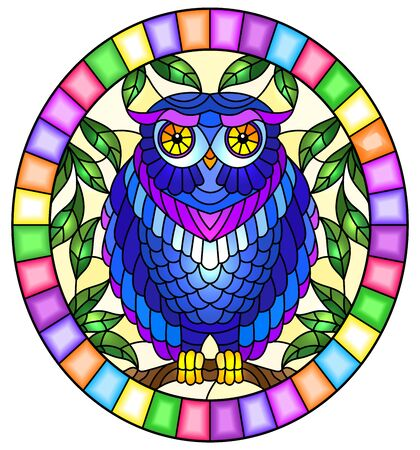 Illustration in stained glass style with fabulous blue owl sitting on a tree branch against the sky,oval picture frame in bright