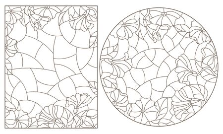 Set of contour illustrations in stained glass style with floral arrangements, dark contours on a white background