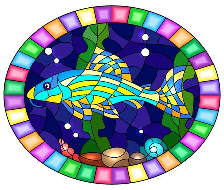 Illustration in stained glass style with a catfish on the background of water and algae, oval image in bright frame  Иллюстрация