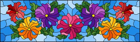 Illustration in stained glass style with floral arrangement of flowers, colorful flowers and leaves on a blue background