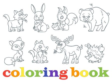 Set of contour illustrations with forest animals, dark outlines on a white background, coloring book