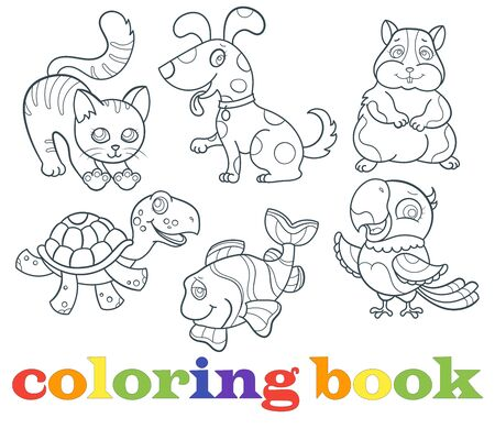 Set of contour illustrations with Pets, dark outlines on a white background, coloring book Stock Illustratie