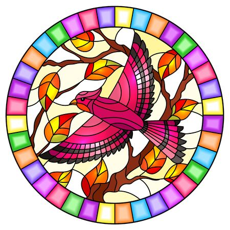 Illustration in the style of stained glass with a beautiful pink bird  on a  background of branch of tree ,oval image in bright frame Illustration