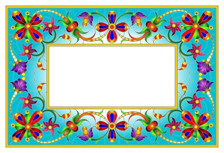 Illustration in stained glass style flower frame, bright flowers and  leaves in blue frame on a white background Çizim