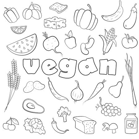 A set of simple contour icons  on the subject of vegetarianism and vegan inscription on a white background