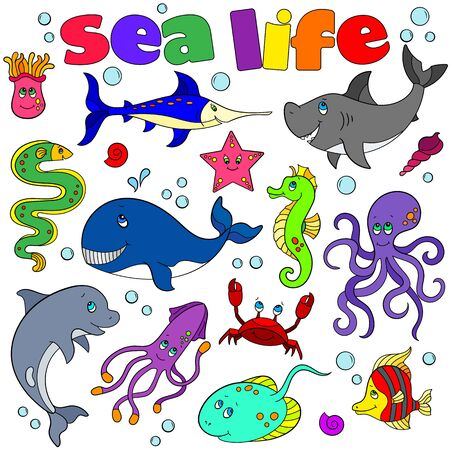 A set of contour illustrations with marine life, funny cartoon animals isolated on a white background