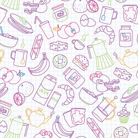 Seamless pattern on theme of food and breakfast , simple contour icons,painted with colored markers on the clean writing-book sheet in a cage