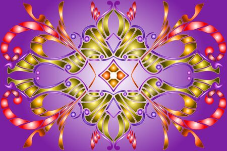 Illustration in stained glass style with abstract  swirls,flowers and leaves  on a purple  background,horizontal orientation